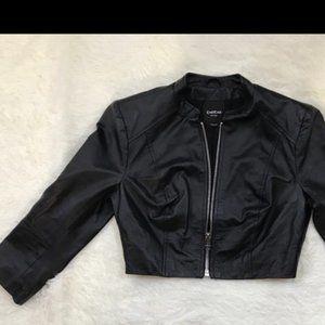 BEBE Cropped Moto Zipper Black Faux Leather Jacket